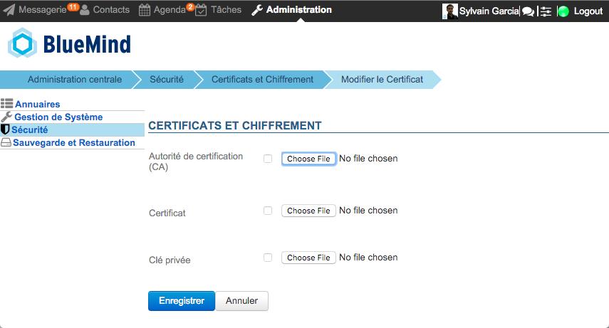 Console d'administration : sécurité et certificats