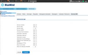 Console d'administration : association des serveurs et services